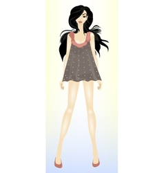 Young beautiful slender brunette girl vector