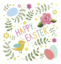 Happy easter print with bird vector