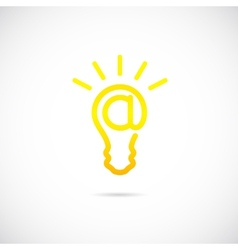 E-mail sign light bulb concept symbol icon or logo vector