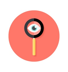 Search magnifying glass with eye circle flat icon vector