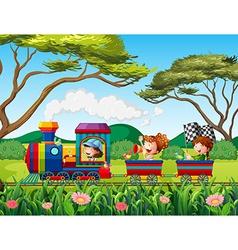 Train and children vector