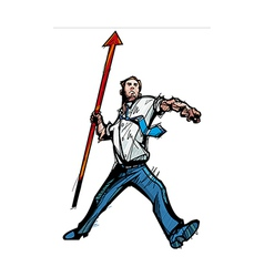 Close-up of man holding arrow vector