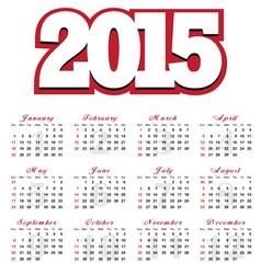 Calendar for the year 2015 vector