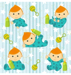 Seamless pattern with baby boy vector