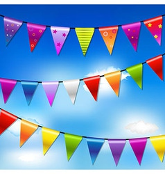 Rainbow bunting banner garland with blue sky vector