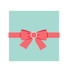 Red bow with pearl buckle vector
