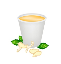 Ginger tea with honey in disposable cup vector