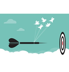Image of birds with darts target aim in the sky vector