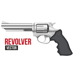 Big revolver silver bright metal vector
