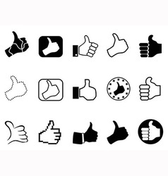 Black thumbs up icons set vector
