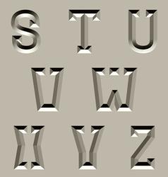 Stone carved alphabet font - part 3 vector