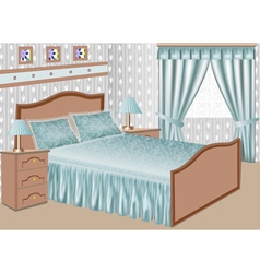 Interior of a bedroom with a satin gown vector
