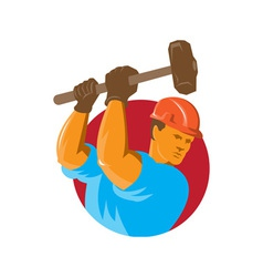 Construction worker with sledgehammer vector
