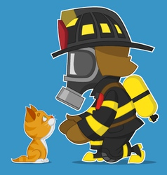 Firefighter and kitten vector