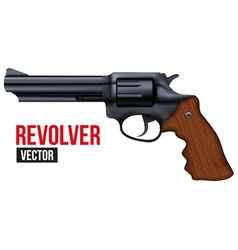 Big revolver black gun metal vector