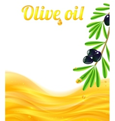 Olive oil and branches with olives background vector