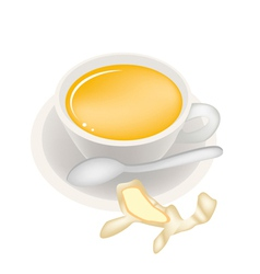 Ginger tea with honey in coffee cup vector