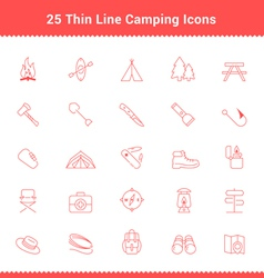 Set of thin line stroke camping icons vector