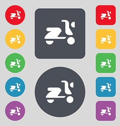 Scooter bike icon sign a set of 12 colored buttons vector