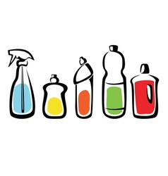 Set of bottles with washing agents vector