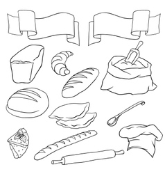Set on the bread theme isolated vector