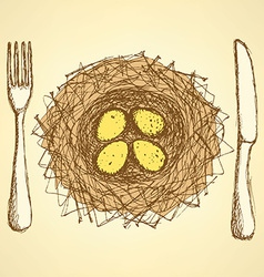 Sketch nest plate with fork and knife in vintage vector