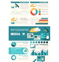 Media infographic set vector