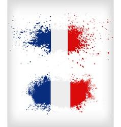 Grunge french ink splattered flag vector
