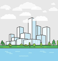 Modern city district buildings in perspective vector