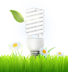 Energy saving lamp with green leaf and flowers vector