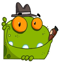 Mobster frog with a hat and cigar vector
