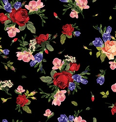 Seamless floral pattern with red roses and pink vector