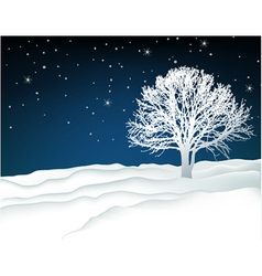 Winter lonely tree vector