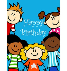 Kids birthday card vector