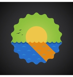 Summer travel sea sunset flat icon vector