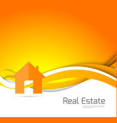 Real estate orange brochure vector