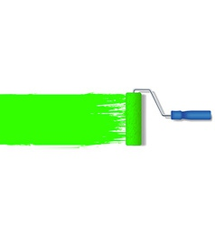 Realistic paint roller painting a green line vector
