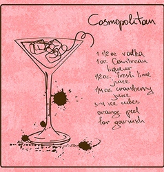 Hand drawn cosmopolitan cocktail vector