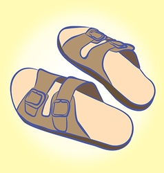 Slippers for relaxing and easy walks on the beach vector