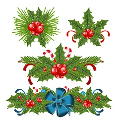 Set holly berry sprigs for christmas decorations vector