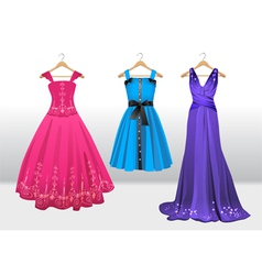Woman beautiful dresses on hanger vector
