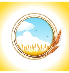 Wheat border and wheat field vector