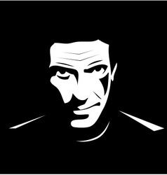 Man brutal black white vector