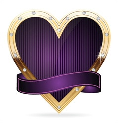 Gold and purple heart vector