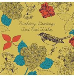 Birthday card bird and flowers vector