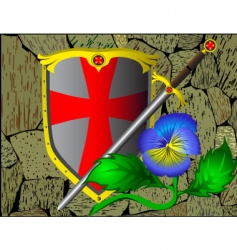 Knightly armour stone wall flower vector