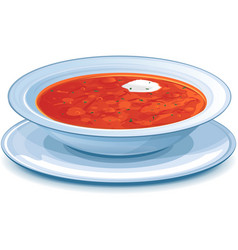 Plate with red borscht vector