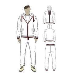 Mans zip-through hoodie and sweetpants vector
