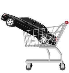 Car in shopping cart vector