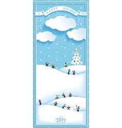 Happy holidays nature landscape vertical banner vector
